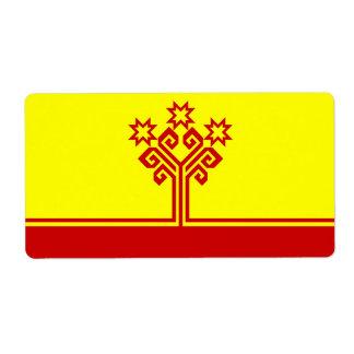 Etiqueta Chuvashia señala por medio de una bandera