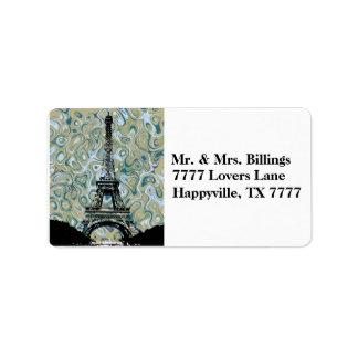 Etiqueta Cielo de Marlble de la torre Eiffel de París