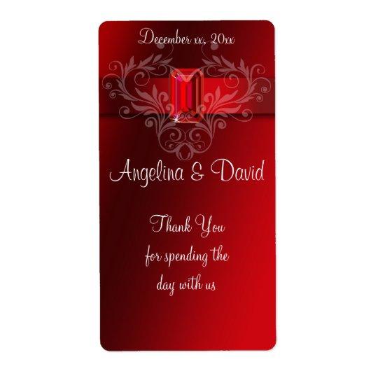 Etiqueta Cinta roja elegante, vino de rubíes/etiqueta del