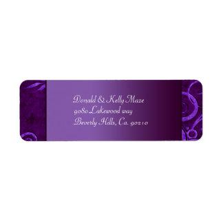 Etiqueta Ciruelo y remolino púrpura del boda del terciopelo