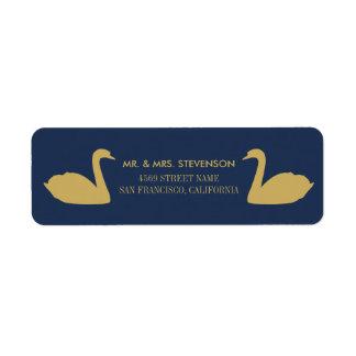 Etiqueta Cisnes del oro en fondo azul