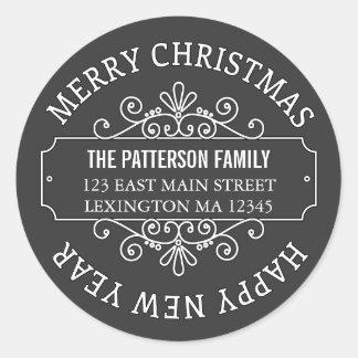 Etiqueta clásica de las Felices Navidad de la Pegatina Redonda