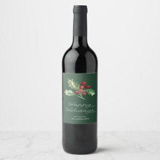 Etiqueta clásica del vino de la baya del acebo