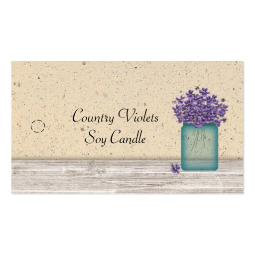 Etiqueta colgante azul de las violetas del tarro d tarjeta de visita