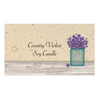 Etiqueta colgante azul de las violetas del tarro tarjetas de visita