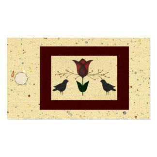 Etiqueta colgante del tulipán y de los cuervos plantilla de tarjeta de visita