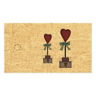 Etiqueta colgante primitiva del Topiary del corazó Tarjeta De Negocio