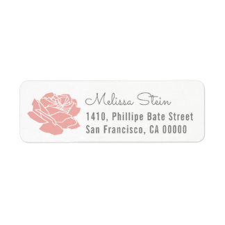 etiqueta color de rosa del remite de la flor con
