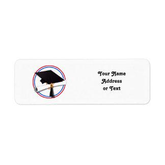 Etiqueta Colores rojos y azules del casquillo w/Diploma del
