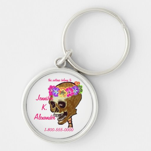 Etiqueta colorida del equipaje del cráneo llaveros personalizados