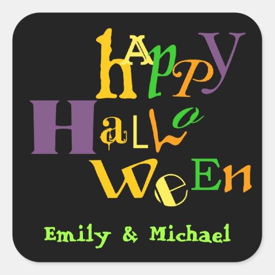 Etiqueta colorida del favor de Halloween de la