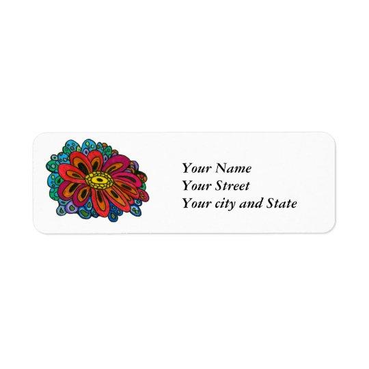 Etiqueta colorida del remite del doodle etiquetas de remite