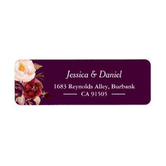 Etiqueta Con clase simple floral rústico púrpura del