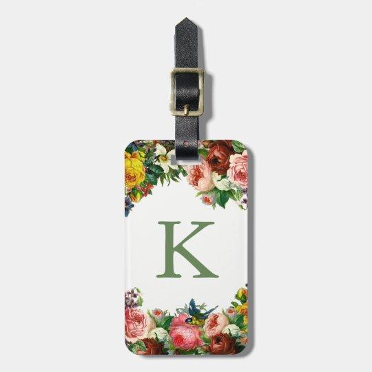 Etiqueta con monograma del equipaje de los rosas