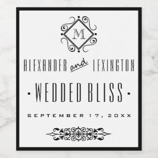 Etiqueta con monograma elegante del vino del boda