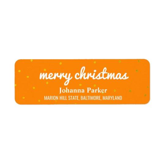 Etiqueta Confeti brillante del naranja de la tipografía de