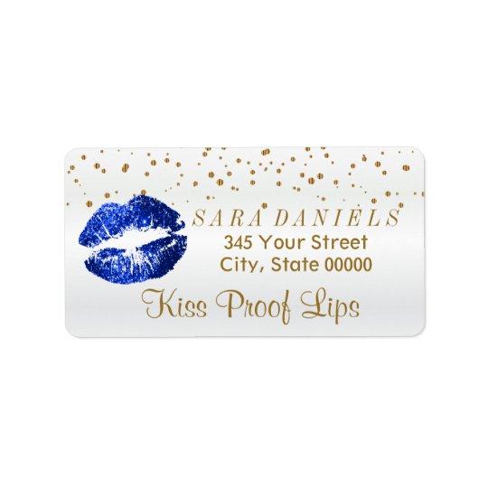 Etiqueta Confeti de oro y labios azules del brillo