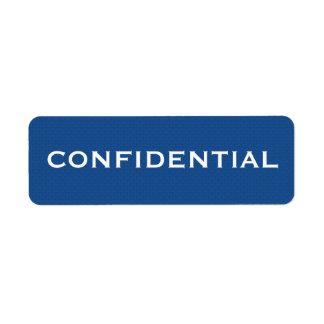 Etiqueta CONFIDENCIAL II del modelo azul