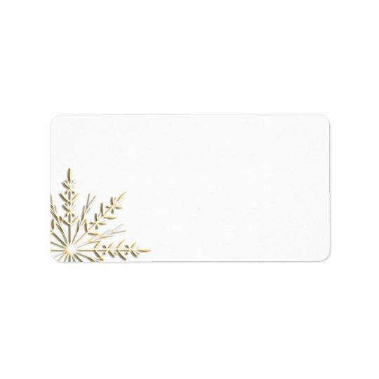 Etiqueta Copo de nieve del oro en blanco