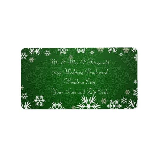 Etiqueta Copos de nieve y boda verde del damasco