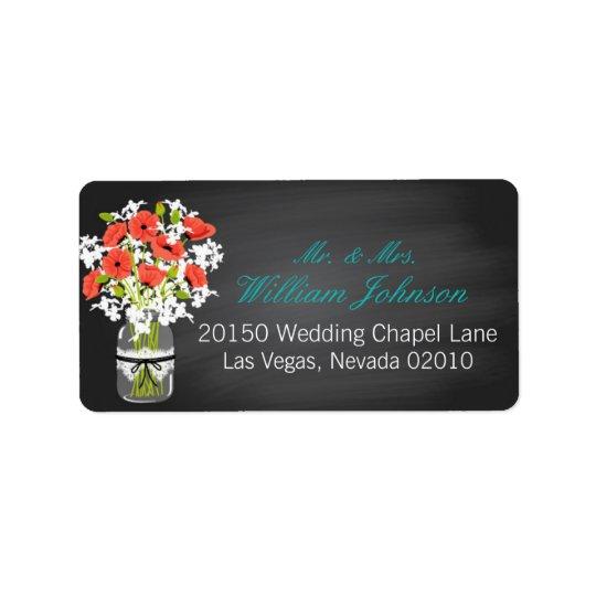 Etiqueta coralina del boda de la pizarra del tarro