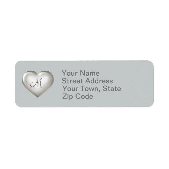 Etiqueta Corazón de cristal de plata del monograma