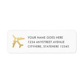 Etiqueta Corazón del aeroplano del oro para el boda del
