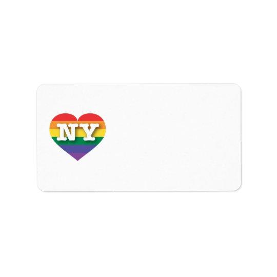 Etiqueta Corazón del arco iris del orgullo gay de Nueva