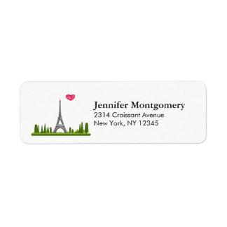 Etiqueta Corazón París con la torre Eiffel