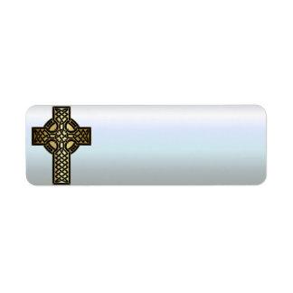 Etiqueta Cruz céltica del nudo en oro y negro
