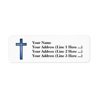 Etiqueta Cruz cristiana con el azul/la pendiente
