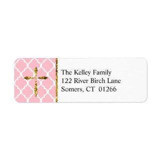 Etiqueta Cruz del oro, dirección de encargo rosada de