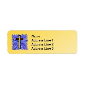 Etiqueta Cruz radiante en fondo amarillo de la pendiente