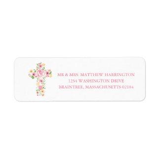 Etiqueta Cruz rosada y amarilla de la acuarela de la flor