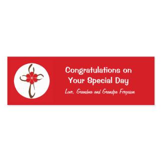 Etiqueta cruzada contemporánea del regalo en rojo tarjeta de visita