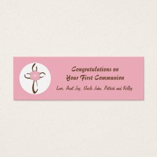 Etiqueta cruzada contemporánea del regalo en rosa