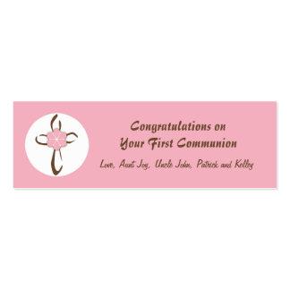 Etiqueta cruzada contemporánea del regalo en rosa tarjetas de visita mini