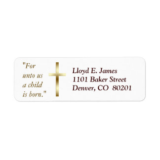 Etiqueta cruzada cristiana del remite