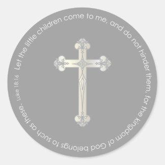 etiqueta cruzada de plata elegante del favor de