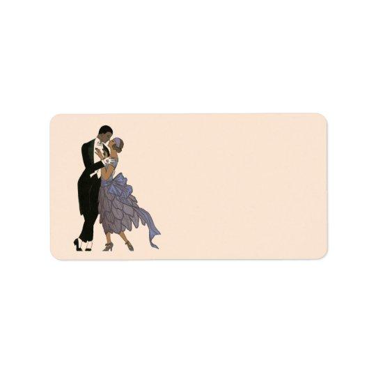 Etiqueta Danza de los recienes casados del art déco del