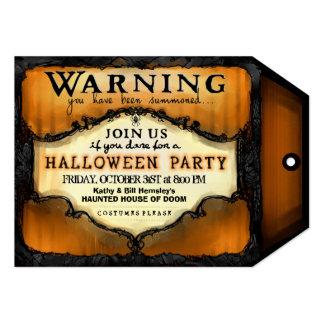 Etiqueta de advertencia del fiesta de Halloween - Invitación 12,7 X 17,8 Cm