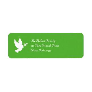 Etiqueta de Avery de la paloma de la paz