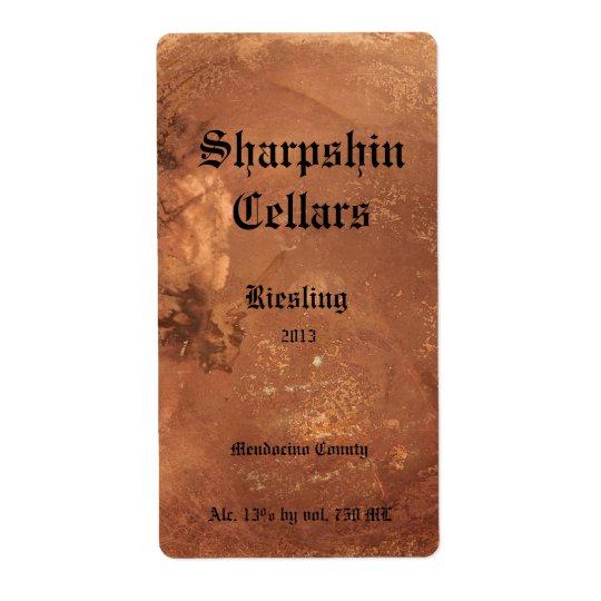 Etiqueta de cobre del vino del fondo etiqueta de envío