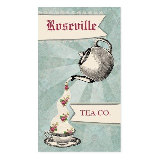 Etiqueta de colada del regalo de la taza de té de plantillas de tarjetas de visita