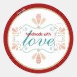 etiqueta de costura de costura decorativa del aro