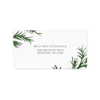 Etiqueta de devolución botánica del boda