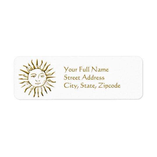 Etiqueta de devolución de oro de la dirección de