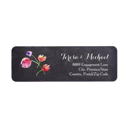 Etiqueta de devolución del boda de la flor del