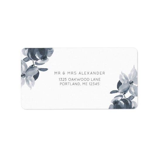 Etiqueta de devolución floral azul polvorienta