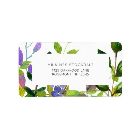 Etiqueta de devolución floral del boda de la etiquetas de dirección